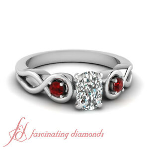 80-Ct-Cushion-Cut-Diamond-amp-Round-Red-Ruby-Engagement-Ring-SI1-GIA-Certified