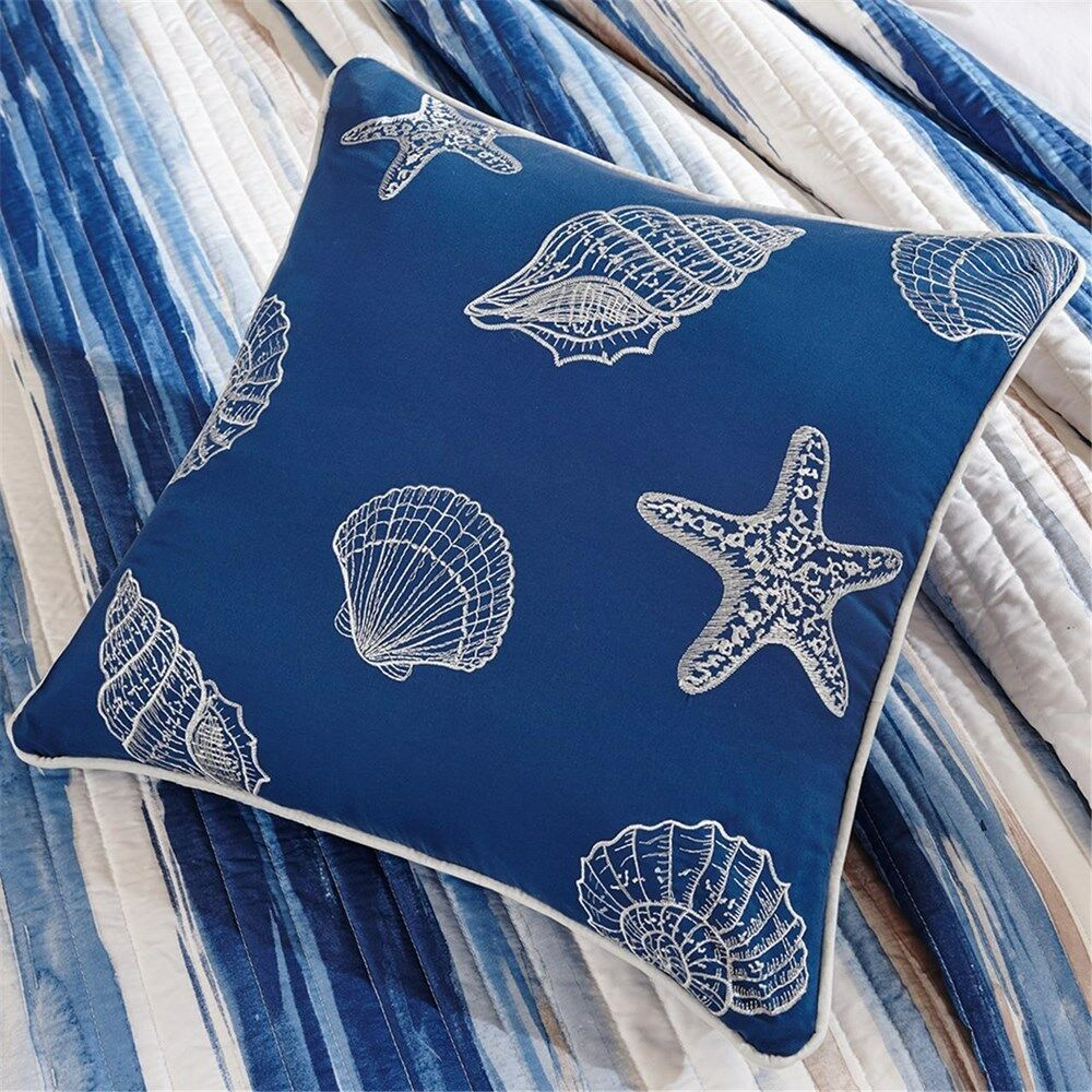 BEACH SEA SHELLS NAUTICAL TROPICAL CORAL OCEAN Blau QUILT SET KING & FULL QUEEN