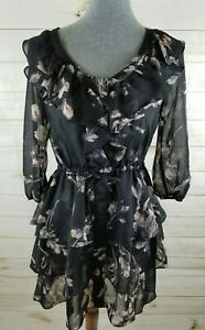 Lauren-Conrad-Sz-2-Black-Floral-Print-Ruffled-Skirt-Neckline-Tiered-Sheer-Dress
