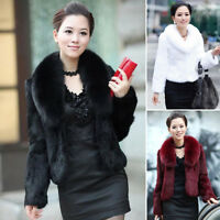 Women Faux Fur Coat Long Sleeve Overcoat Top Level Lapel Collar Jacket Outerwear