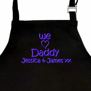 Personalised-EMBROIDERED-Fathers-Day-Apron-I-or-WE-LOVE-DADDY-Christmas-GRANDAD
