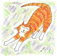 "Card: ""Cat Stretching"" #CatBooks No.5 #PeterBrighouseillustrator"