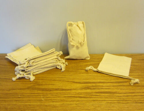 """2 NEW COTTON MUSLIN BAGS WITH DRAWSTRINGS 5/"""" BY 8/"""" BATH SOAP HERBS QUALITY BAG"""