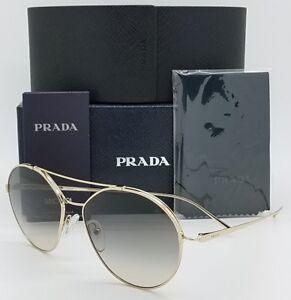 1dc49321070e New Prada sunglasses PR56US ZVN130 55 Gold Grey Gradient Round ...