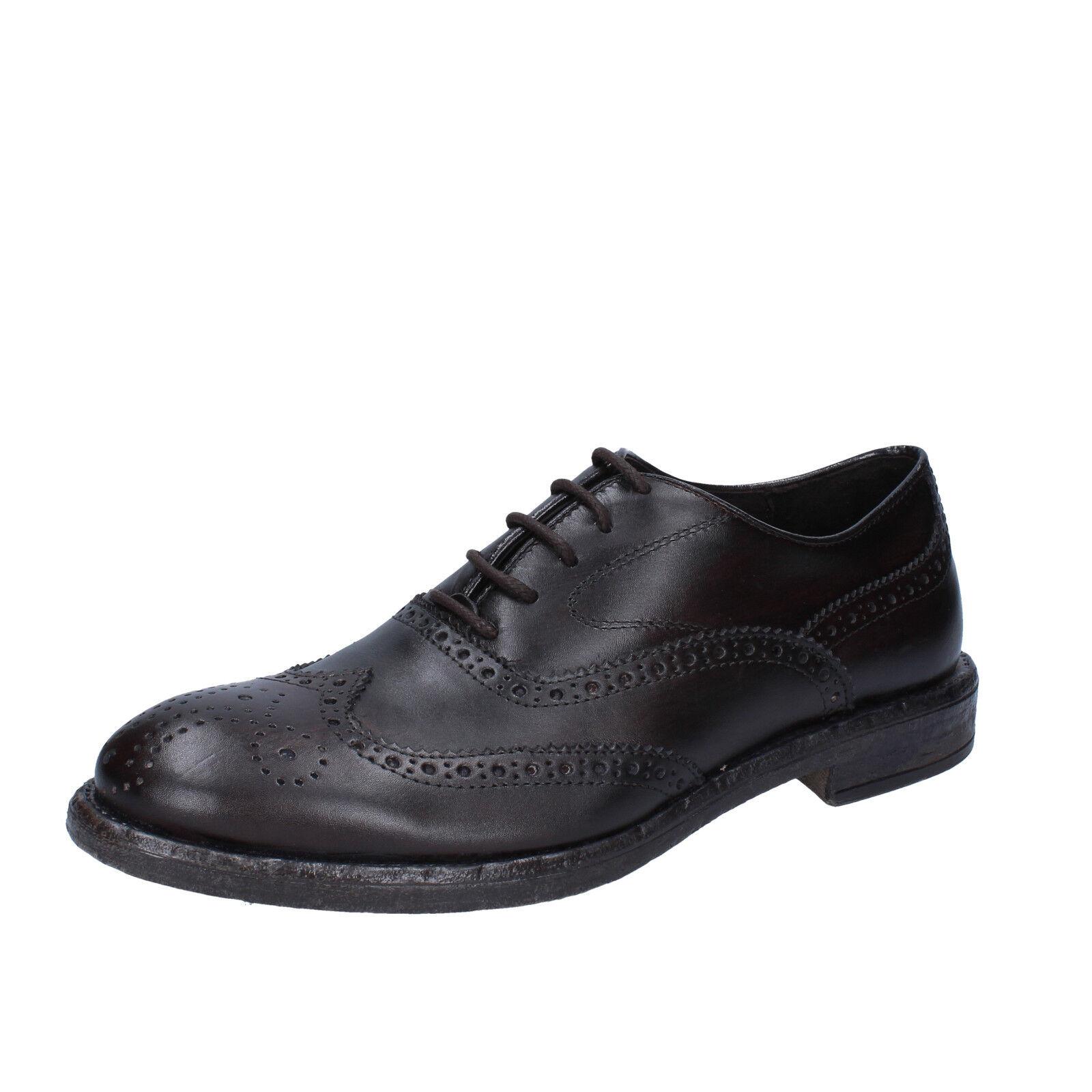 Men's schuhe +2 MADE IN ITALY 10 (EU 43) elegant dark braun leather BX422-43