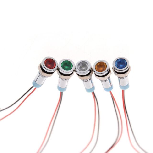 6mm 6/12V Car Truck Boat Metal LED Indicator Pilot Dash Light Lamp Wire Leads JB