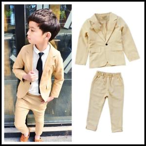 dda2d0a9a730b 2pcs Kids Teenager Boys Formal Suit For Wedding Jackets Blazer Coat+ ...