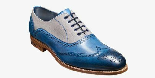 Homme Fait à la main Chaussures bicolores en CUIR BLEU /& en daim gris Oxford Bout D/'Aile formelle nouveau