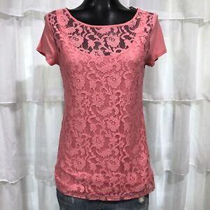 Medium-NWT-LOFT-Pink-Lace-Front-Tee-Top