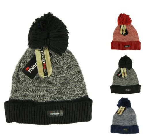 Unisex Bobble Hats Thinsulate Two Tone Beanie Hat Winter Gift LA23