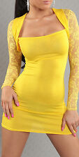 SeXy Miss Damen Party Mini Kleid Spitze Bolero Style 32 34/36/38 NEU TOP gelb