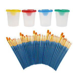 Watercolor Oil Acrylic Face Body Paint Brushes and Paint Cups 54Pcs Set