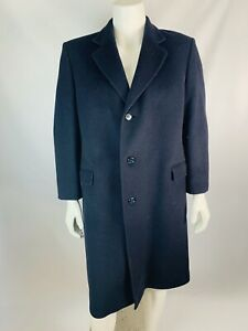 Adolfo-44R-Mens-Trench-Coat-Over-Coat-Wool-Cashmere-Blend-Navy-Blue-Button-Down