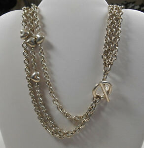 ba28ca889 TIFFANY & Co Puffed Heart Multi Strand Chain Toggle Clasp Necklace ...