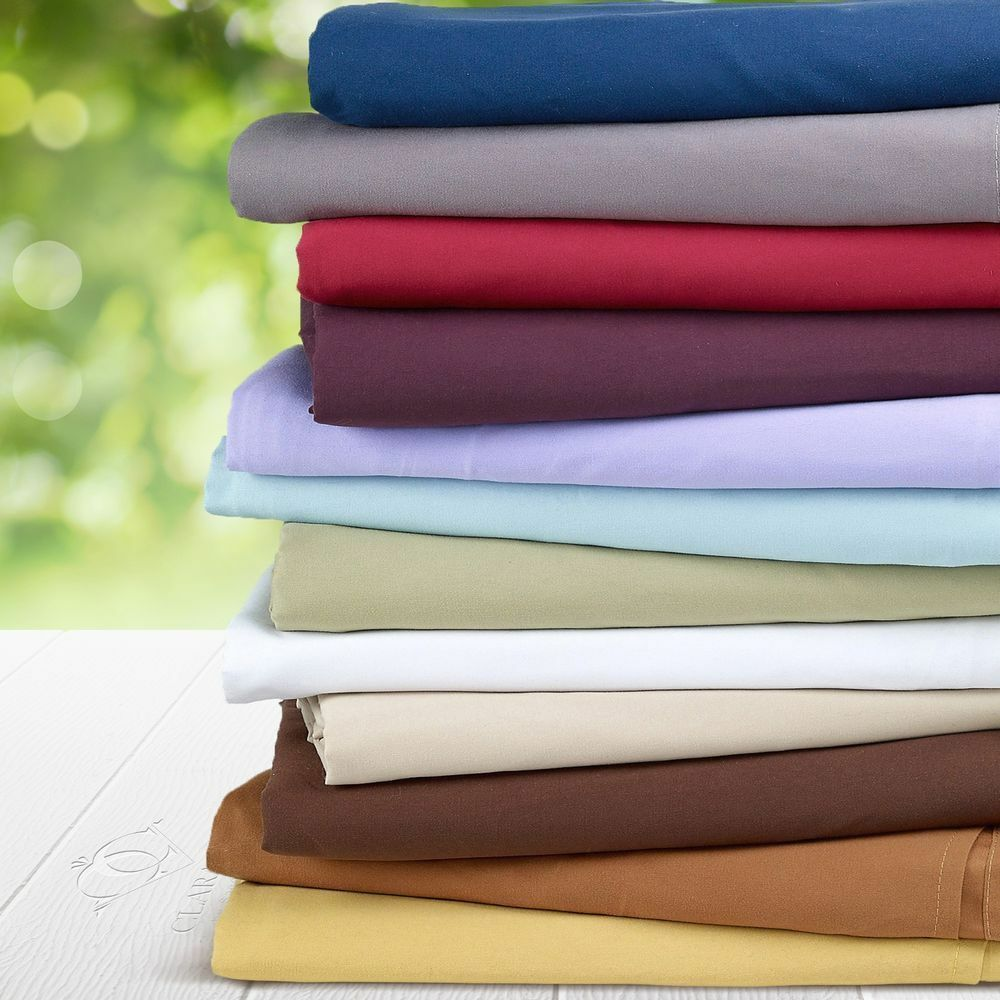 Best Egyptian Cotton Fitted Sheet or Fitted Sheet+Pillow Olympic Queen & Solid