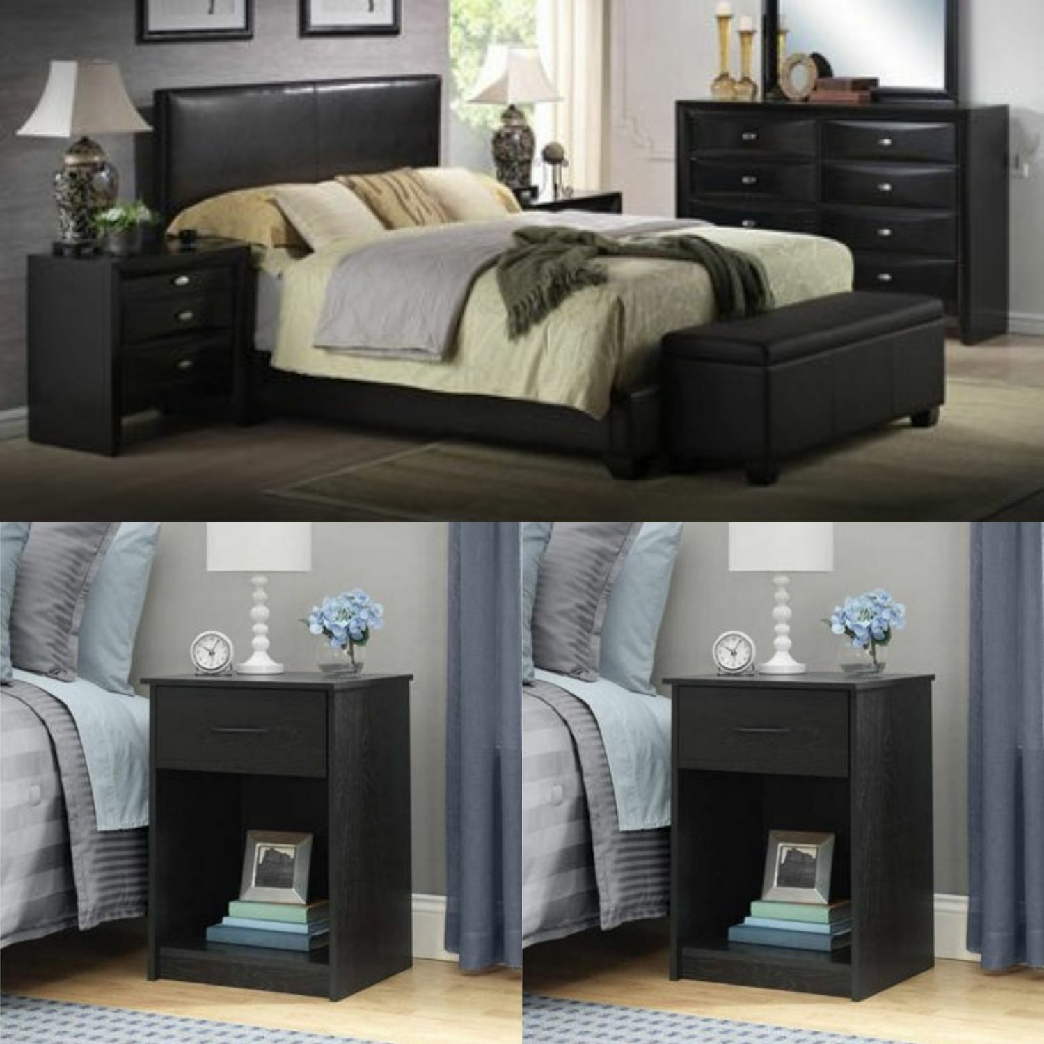 FULL SIZE BEDROOM SET Modern Design Platform Bed Headboard Nightstand  Furniture