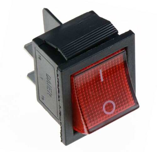 Rosso Illuminato Grande Acceso-Spento Interruttore a Bilanciere 250v Dpst
