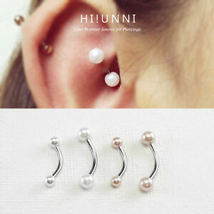 Image Is Loading 16g Pearl Rook Earring Curved Barbells Snug Helix