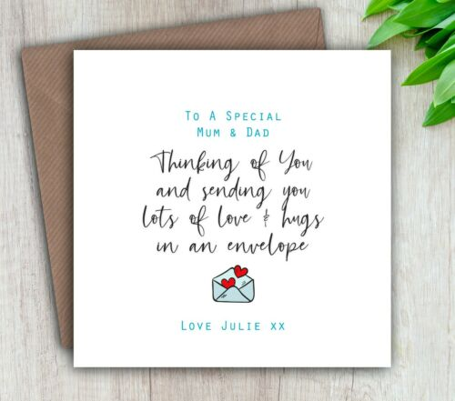 Thinking of You Card Son Friend Personalised /& Handmade Mum Dad Daughter