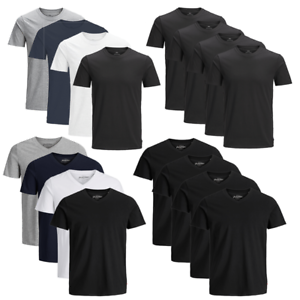 JACK-amp-JONES-Herren-T-Shirt-4er-Pack-Basic-O-Neck-V-Neck-Shirt-S-M-L-XL-XXL