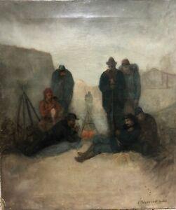 Ecole-Francaise-Du-19eme-Siecle-Zouave-Au-Feu-de-Camp-Guerre-de-Crimee