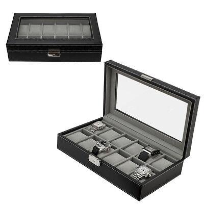 12 Watch Leather Box Glass Top Display Lockable Jewelry Organizer Storage Case