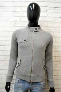 Maglione-Uomo-Woolrich-Taglia-S-Cardigan-Felpa-Pullover-Grigio-Slim-Lana-Sweater