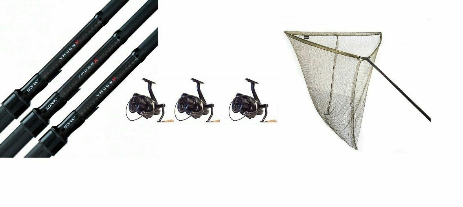 3 X Sonik Vader X Carp Rods 12ft 2.75lb + 3 Vader X 8000RS REELS+ 42  L Net