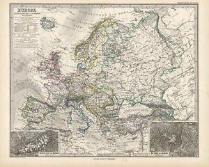 1884 Steiler Map: Europe
