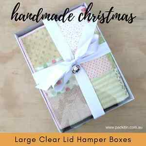 WHITE-HAMPER-TRAY-BOXES-CLEAR-LIDS-blankets-towels-christening-food-safe