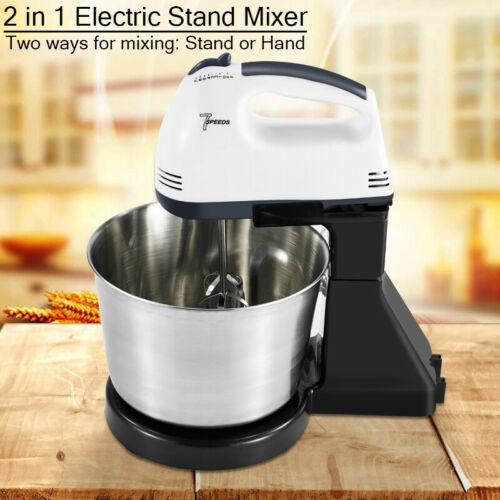 7 Speed Electric Whisk Food Cake Egg Cookie Dough Handheld Stand Mixer 2L 3L UK