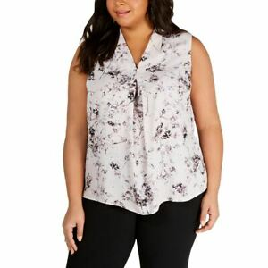 BAR III NEW Women's Plus Size Floral-print Pleated Blouse Shirt Top 2X TEDO