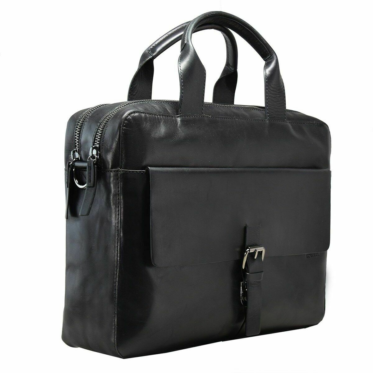 Strellson Scott Leather Briefcase 40 inch Laptop Compartment #O1