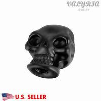 Wholesale Stainless Steel Black Gothic Skull Beads Jewelry Findings 2.8mm Hole