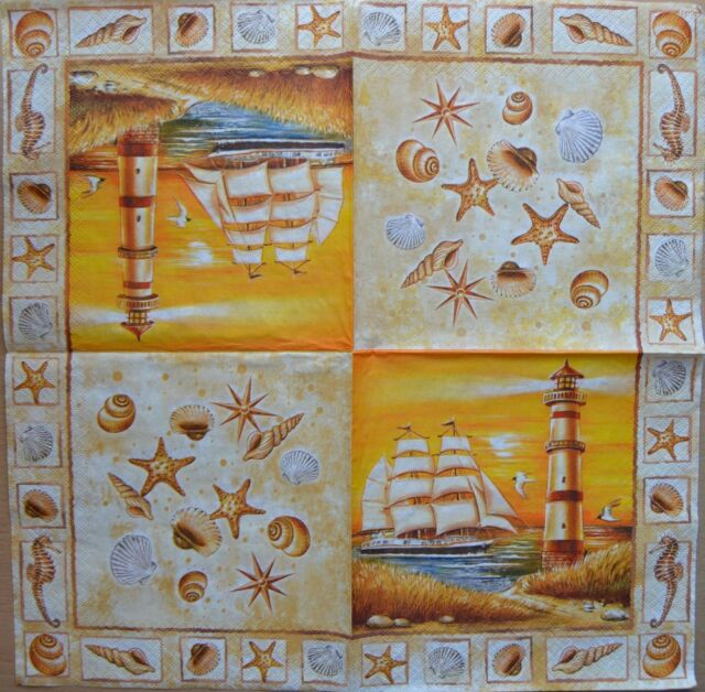 PAPER TABLE NAPKIN FOR CRAFT VINTAGE SHIP SEA SHELD DECOUPAGE TEA PARTIES 464