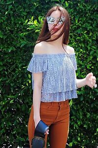 6afb6bb99eec1 nwt zara off the shoulder cropped lace top size m medium gray