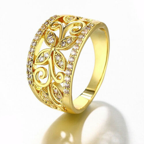EE/_ EG/_ Fashion Wide Ring Rhinestone Hollow Flower Pattern Alloy Women Palace Lu