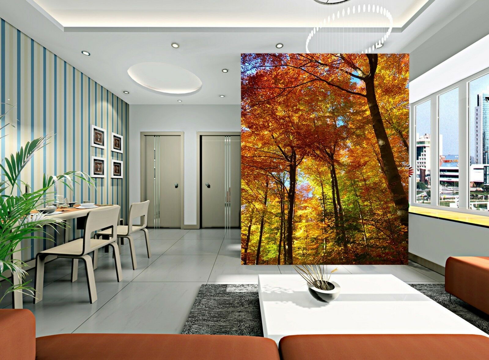 3D Yellow leaves trees  Wall Paper wall Print Decal Wall Deco Indoor wall Mural