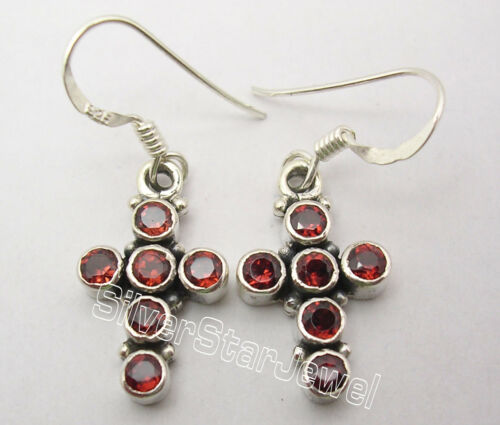 """925 Sterling Silver RED GARNET Multi Gemstone CROSS FRENCH HOOK Earrings 1.3/"""""""
