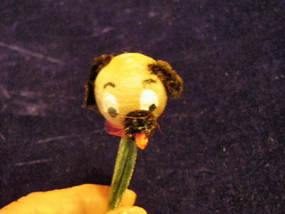 "Vintage 1/"" Spun Cotton Dog Head Brown Pup on Green Pipe Cleaner Stems soCute IM2"