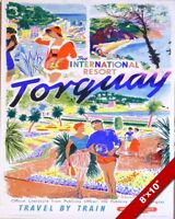 VINTAGE 1950'S TORQUAY RESORT DEVON ENGLAND TRAVEL POSTER ART REAL CANVAS PRINT