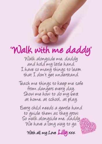 fille Marche avec moi papa fête des pères poème cadeau personnalisé shabby chic #1