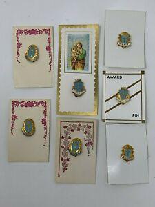 Vintage-Religioso-Premio-Premio-Spille-Blu-amp-Color-Oro-Colore-7-Pz-Misto-Lotto
