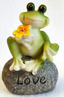 Frog Garden Statue Pot Sitter Holding Flower On Love Rock Small 3.5