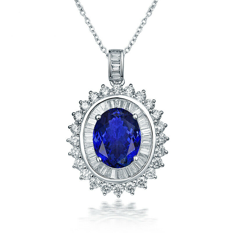 Luxury Jewelry Tanzanite Brilliant Diamonds Wedding Women Pendant 14k White gold