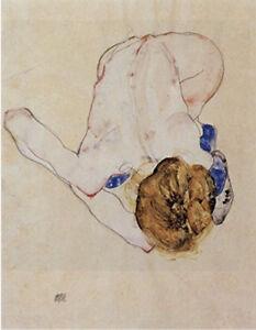 Woman-bending-down-by-Egon-Schiele-art-print-on-230gsm-photo-paper-choose-size