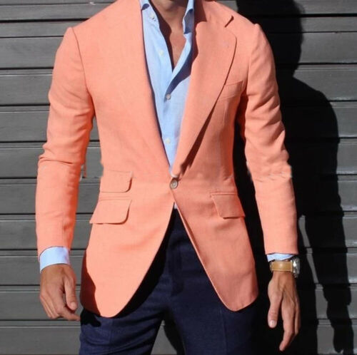 Men/'s Orange Tuxedos Slim Fit One Butotn Groom Wedding Leisure Beach Blazer
