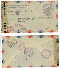 1943 Venezuela Official Registered censored cover - mining - Libre De Porte free