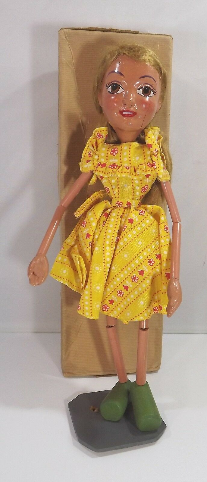 Boxed Vintage 1940s 50s Pelham Puppets Bendy Bendipup Girl Type SL Display Piece