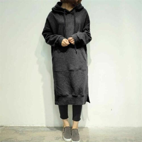 Women/'s Long Sleeve Loose Plus Size Casual Sweatshirt Hoodies Long Maxi Dress